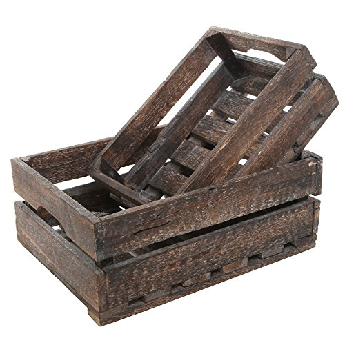 Wooden Boxes Crates - MyGift Set of 2 Country Rustic Finish Wood Storage Crate/Decorative Tray Carrier Boxes w/Handles