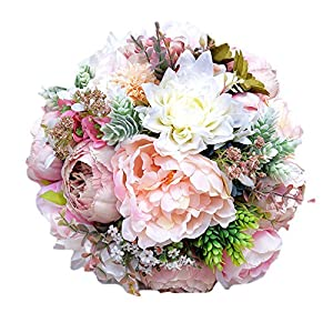 KUPARK Handmade Romantic Roses Dahlia Peony Hydrangea Artificial Flowers Blossom Decor Bridal Bridesmaid Bouquet Home Wedding Decoration Gift for Birthday Valentine's Day 39