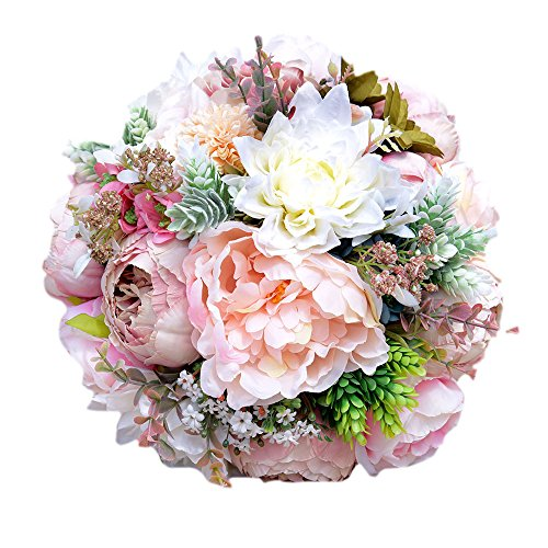 (KUPARK Handmade Romantic Roses Dahlia Peony Hydrangea Artificial Flowers Blossom Decor Bridal Bridesmaid Bouquet Home Wedding Decoration Gift for Birthday Valentine's Day)