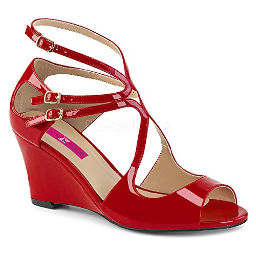 Pleaser Pink Label Women's Kim04/r Wedge Sandal, Red Patent, 9 M US