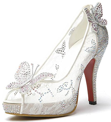 Wedding White Stud (Littleboutique Lace Wedding Pumps Crystal Stud Bridal High Heels Rhinestone Evening Party Dress Heel Pump White 9)