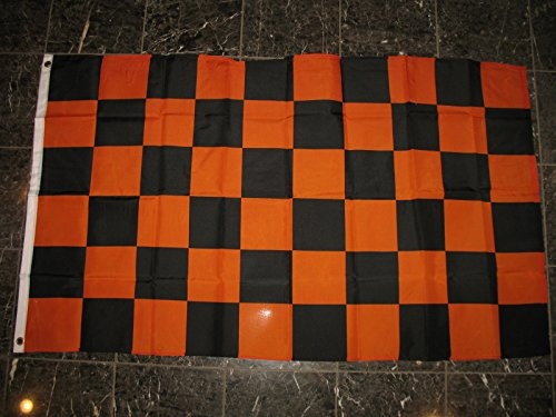 3X5 Advertising Checkered Checker Orange Black Flag 3'X5' Halloween (Halloween Mouth Stencil)