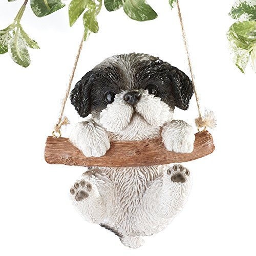 (Hang Around Pets Tree Decoration with 7in Rope for Easy Hanging, Hand Painted Decorative Accent - Gift Ideas for Pet Owners, Shih Tzu)