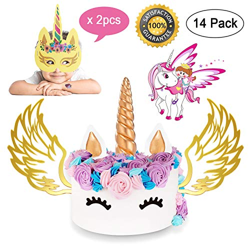 Unicorn Cake Topper, Gold Unicorn Horn Ear Eyelash Wing Mask Cake Topper Decoration Set Party Supply Favor for Birthday, Wedding and Baby Shower (14 Pack)