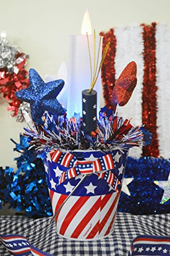 Fourth of July Centerpiece Pail, Patriotic Table Decor, Red and Blue Swag,