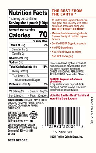 Earth's Best Organic Stage 3, Pumpkin, Cranberry & Apple, 4.2 Ounce Pouch (Pack of 12) (Packaging May Vary) by Earth's Best (Image #3)'