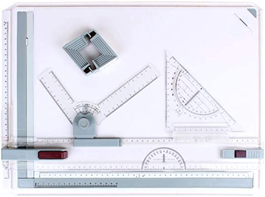 A3 Drawing Table Board Multifunctional Metric System Graphic Architectural Drawing Table Set with Parallel Motion and Adjustable Measuring System Angle