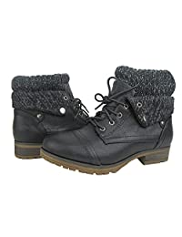 Comfy Moda Women's Combat Boots Cici in Black & Tan