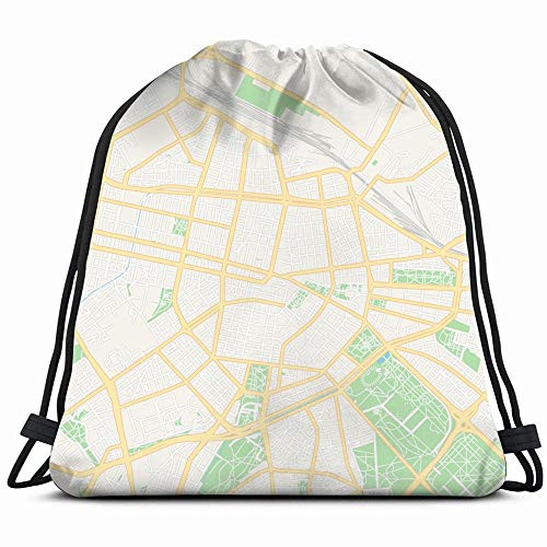 Printable Map Sofia Bulgaria Main Secondary Parks Outdoor Abstract Signs Symbols Drawstring Backpack Gym Sack Lightweight Bag Water Resistant Gym Backpack For Women&Men For Sports,Travelling,Hiking,Ca ()