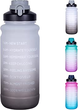 CBU Half Gallon/64oz Motivational Water Bottle with Time Marker & Straw, Leakproof BPA Free Water Jug for Fitness Gym Camping Outdoor Sports (White/Gray Gradient)