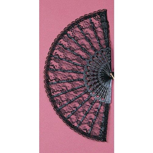 [Folding Lace Fan Costume Accessory in Black] (Fan Costumes)