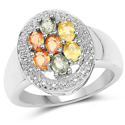 925 Sterling Silver Genuine Multi Sapphire Ring (1.54 Carat) Size 5.5