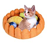 laamei Cat Pet Bed Fruit Tart, Cat Puppy Bed Round Warm Cotton Cat Cave Bed Winter Plush Nest Kennels Mat Pad with Toys for Cats Dogs Sleeping Sniffing Playing Bed