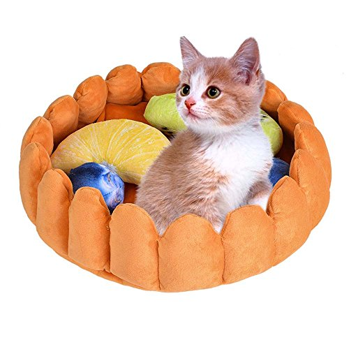 laamei Cat Pet Bed Fruit Tart, Cat Puppy Bed Round Warm Cotton Cat Cave Bed Winter Plush Nest Kennels Mat Pad with Toys for Cats Dogs Sleeping Sniffing Playing - Tart Shaped