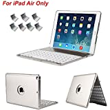 iPad Air Keyboard Case, iEGrow Slim Bluetooth Clamshell Keyboard Case with 7 Colors LED Backlit for iPad Air 1 (Silver)