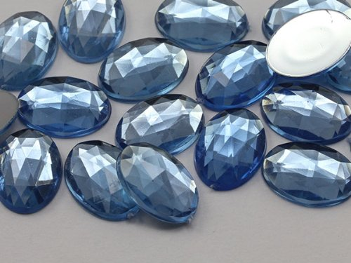 40x30mm Sapphire Lite .LS Flat Back Oval Acrylic Jewels Pro Grade - 4 Pieces