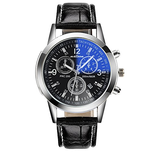 Linmkey Luxury Fashion Faux Leather Mens Blue Ray Glass Quartz Analog Date Watches Mens Analog Watches