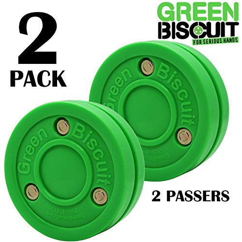 Green Biscuit 2 Pack 2 Passers| Off-Ice Stickhandling & Passing Puck | This Biscuit is Great for Street Hockey, Green