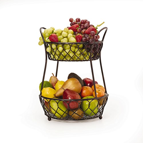 Gourmet Basics by Mikasa 5158748 Loop and Lattice Metal 2-Tier Round Fruit Storage Basket, Antique Black