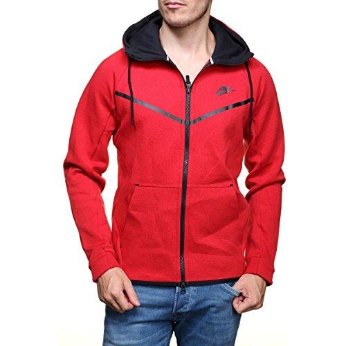 Nike Mens Sportswear Tech Fleece Windrunner Hooded Sweatshirt University Red/Black 805144-654 Size 2X-Large