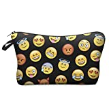 Yonger 3D Printing Cute Emoji Make Up Pouch Storage Holder Travel Hand Case Cosmetic Makeup Bag Lady Purse