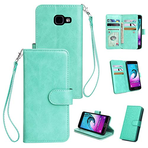 Torubia (for Samsung Galaxy A5 (2016) A510) Flip Wallet Case Cover and 360 Degree Full Body Protective Bumper Cover, Premium Leather Cover Material - Mint Green