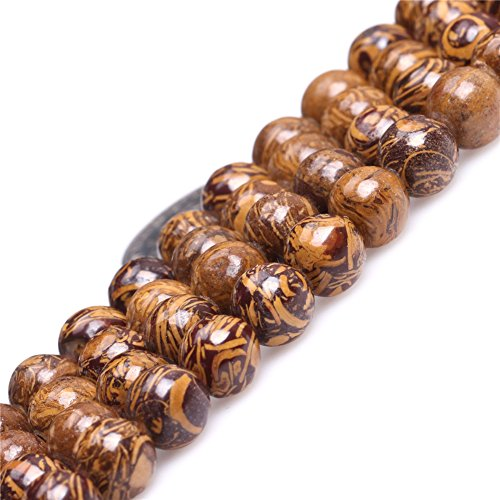 JOE FOREMAN 8mm Yellow Elephant Skin Jasper Semi Precious Gemstone Round Loose Beads for Jewelry Making DIY Handmade Craft Supplies 15