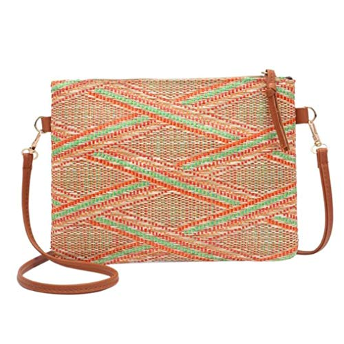 - New Summer Women Weave Bohemian Style Striped Shoulder Beach Bag Casual Bag floral Messenger Bags