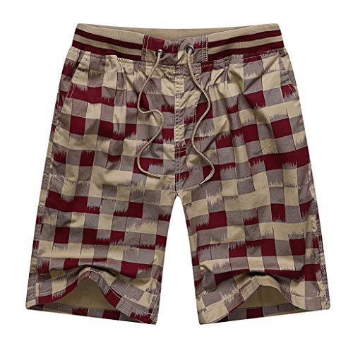 (Ninasill Hot!Men's Retro Plaid Print Straight Surfing Beach Shorts Large Size Tethered Sports Shorts Summer Swimming Pants)