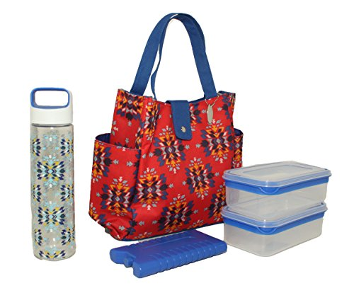 2 Ice Lunch Bag (Silver One Durable & Reusable Premium Insulated Heavy Duty Tote Lunch Bag Set for Pinic/Beach |Includes 2 Food Storage Containers, 1 Ice Pack, 1 Plastic Water Bottle | Button Snap Closure By Eco One)