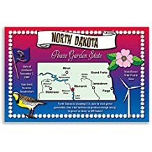 NORTH DAKOTA STATE MAP postcard set of 20 identical postcards. Post cards with ND map and state symbols. Made in USA.