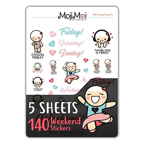 Happy Friday-Theme Stickers for Life Planner, Erin Condren Planner Stickers - kawaii Stickers, Eclp Stickers, Kikki Stickers, 5 Sheets 140 pcs, MojiMoi ()