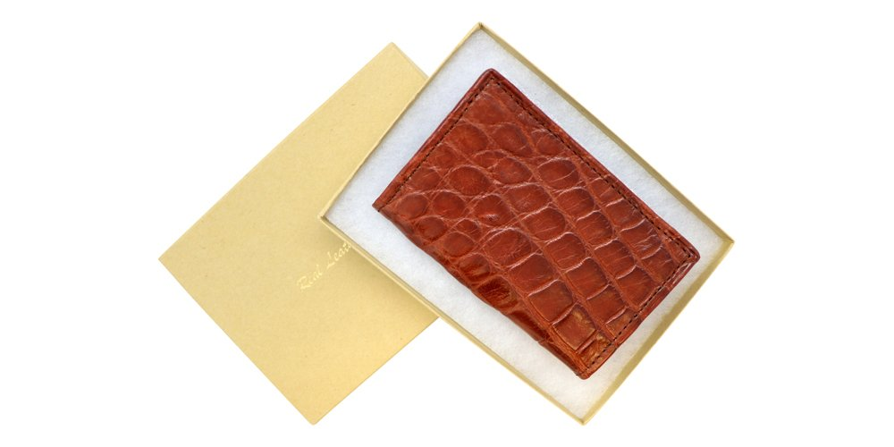 Cognac Genuine Millennium Alligator Gusseted Business/Credit Card Case Wallet – Alligator Inside and Out - Brown & Cognac - Factory Direct Made in USA by Real Leather Creations FBA302 by Real Leather Creations (Image #6)
