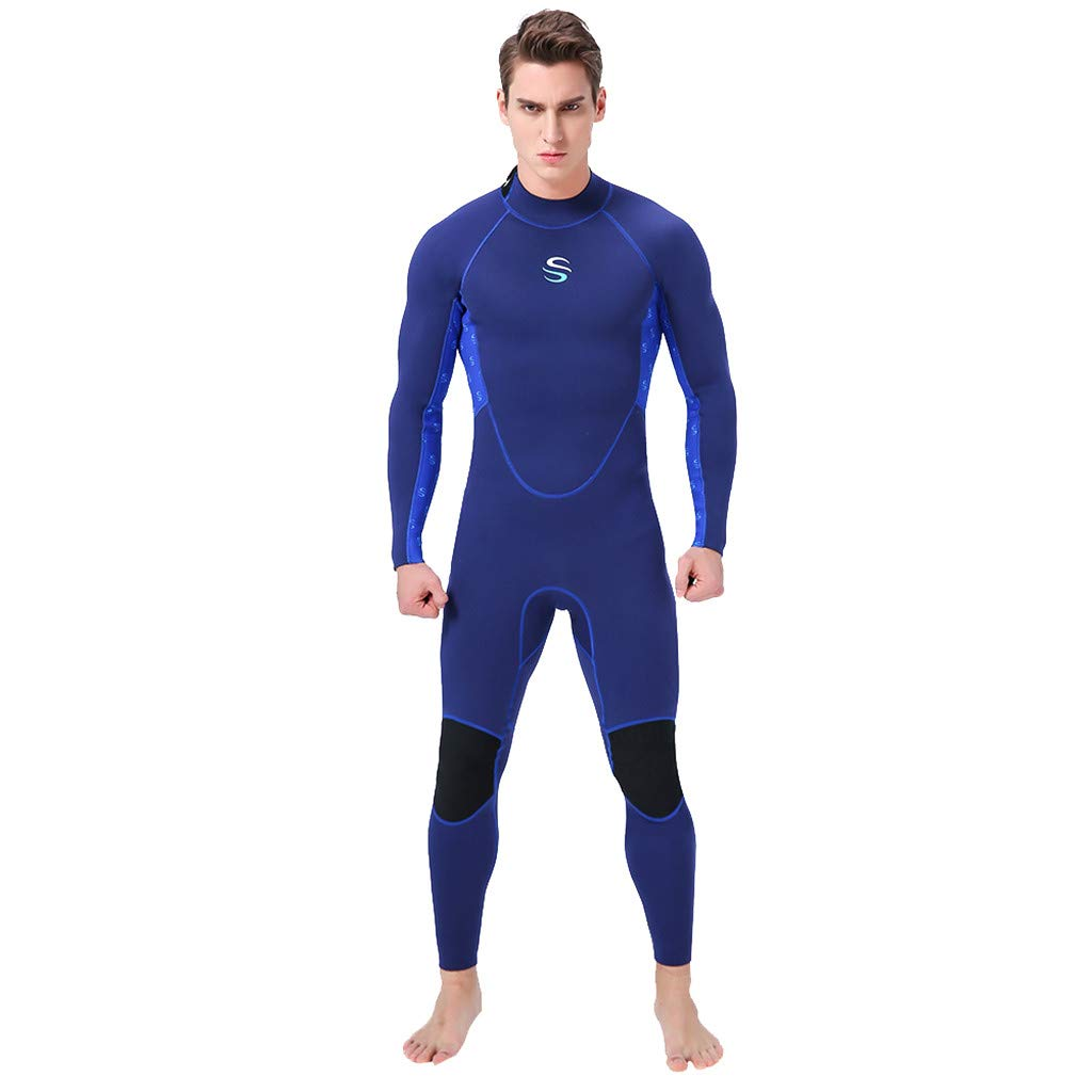 Seaintheson Men's Full Body Dive Wetsuit Sports Skins 3/2 MM Back Zip Super Stretch Diving Suit Thermal Swimsuit (Blue, XL)