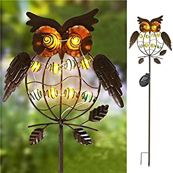 TAKEME Garden Solar Lights Outdoor,Solar Powered Stake Lights - Metal OWL LED Decorative Garden Lights for Walkway,Pathway,Yard,Lawn