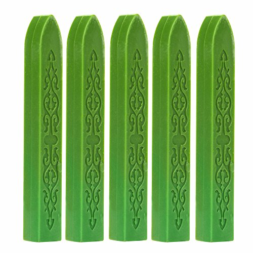 HYSGM 5 Pieces Sealing Wax Stamp Vintage Postage Letter Sticks Wicks with Antique Fire Manuscript Seal Wax (Green) from HYSGM