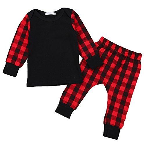 GRNSHTS Baby Girls Boys Christmas Outfit Plaid Long Sleeve Tops + Pants Sets Pajamas Set (Red & Black, 100/18-24 Months)