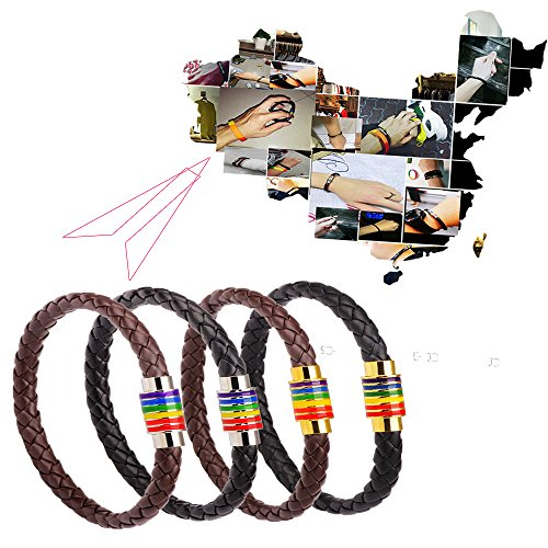 Comidox High-end Simple Braided Leather Rope Rainbow Bracelet, Titanium Steel Magnet Buckle Gay Bracelet - Gay & Lesbian Pride 2pcs(Black gold&Black silver)