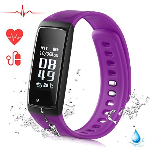 Ablue Smart Bracelet, Pedometer Heart Rate Monitor Sleep Monitor Calorie Counter Pedometer Sport Activity Tracker With HD OLED Touch Screen for Android and IOS Smart Phone (Purple)
