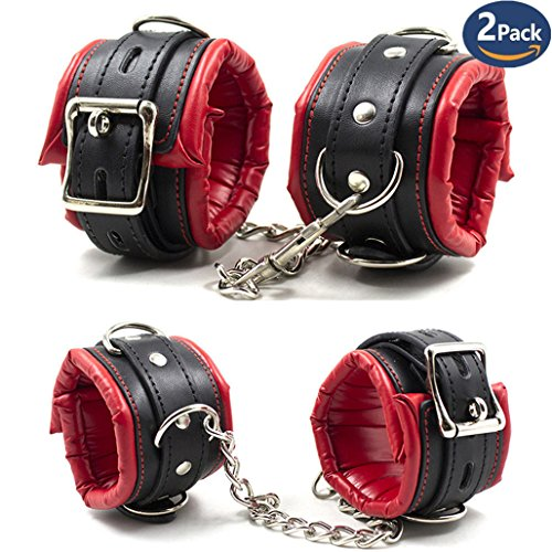 Metrical Soft Padded Leather Handcuffs Adjustable Wrist Cuffs + Ankle - Padded Cuffs Leather Hand