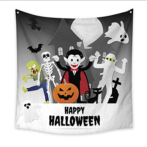 Anniutwo Modern Art Tapestry Happy Halloween Night Party Set of Characters in Cartoon Paper Style with Pumpkin Ghost Dracula Skeleton Witch Mummy Zombie Black Dorm Living Room Bedroom 47W x 47L Inch
