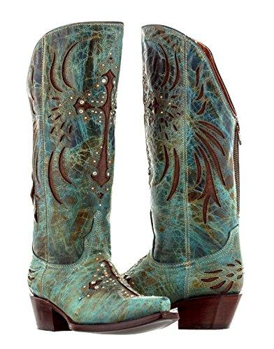 Cowboy Professional - Women's Turquoise Cruz Fuego Leather Tall Cowboy Boot 10 Medium (B,M)