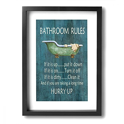 Art Logo Vintage Style Bathroom Rules Bathtub Shower Canvas Wall Art Decor For Bathroom Funny Relax Bathing Framed Canvas Prints Giclee Artwork Pictures Ready To Hang For Home Decoration 9 X13