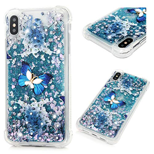 iPhone Xs Max Case, Clear Liquid Glitter Case Bling Shiny Glitter Sparkle Flowing Moving Hearts Crystal Diamonds Rhinestones Ultral Slim Shock Absorbtion TPU Bumper Dropproof Cover iPhone Xs Max ()