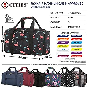 5 Cities 40x20x25 Ryanair Maximum Sized 2020 Under Seat Cabin Holdall Travel Flight Bag – Take The Max on Board! (Black…