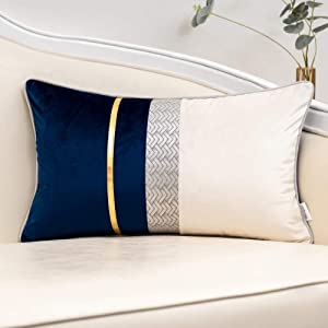 """Yangest Navy Blue Patchwork Velvet Lumbar Pillow Cover with Gold Striped Leather Cushion Case Modern Luxury Pillowcase for Sofa Couch Bedroom Living Room Home Decor,12""""x20"""""""
