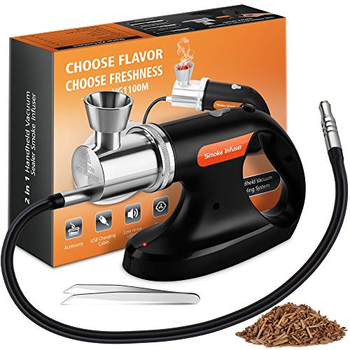 Jo Chef Professional Handheld Smoke Gun - Cold Smoker + Vacuum Function - USB Smoking Gun Food Smoker - Wood Chips Included - Ideal Gift for Chefs and Mixologists - Use for Sous Vide, Cocktails (Best Smoker For Cold Smoking)