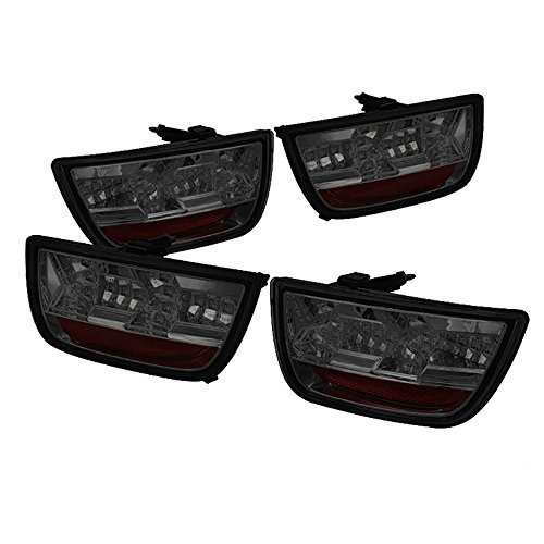 (VIPMOTOZ Premium Full-LED Tail Light Lamp For 2010-2013 Chevy Camaro - Metallic Chrome Housing, Smoke Lens, Driver and Passenger Side )