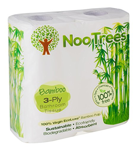 NooTrees Bamboo 3-Ply Bathroom Tissue, 300 Sheets, 4 Count
