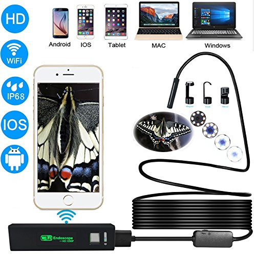 1200P Wireless Endoscope, 2.0 Megapixels 8 Led Light IP68 Waterproof Flexible WiFi Borescope Inspection Camera for Android and iOS Smartphone,Windows,Mac,Tablet - Black(11.5FT)